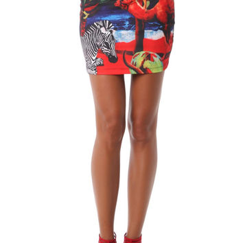 Q2 Mini Skirt In Tropical Print