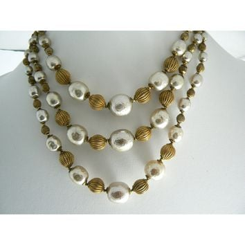 Miriam Haskell Baroque Pearl and Russian Gold Bead 3 Strand Necklace