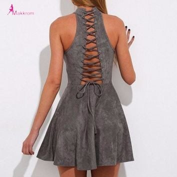Dress Woman Party Bandage Lace up Off Shoulder Backless Casual Solid Pleated Mini Dress