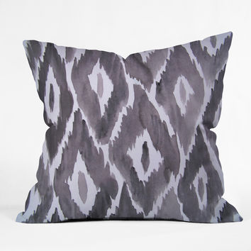 Natalie Baca Painterly Ikat in Black Throw Pillow