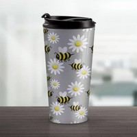 Happy Bee Daisy Travel Mug - Cute Yellow Happy Bee And White Daisy Pattern Over Gray - 15oz Stainless Steel - Made to Order