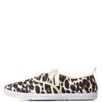 Leopard Print Low-Top Canvas Sneakers