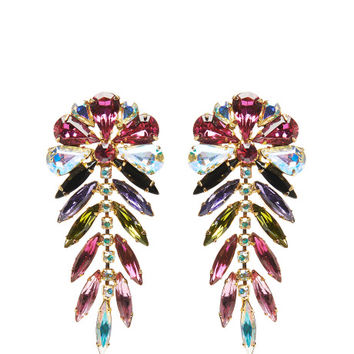 Signed 'Dimartino Originals' Multi-Colored Rhinestone Earrings by Carole Tanenbaum - Moda Operandi