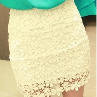 Women's Crochet Fashin Lace Tight Outfit Mini Dress Skirts [4905488068]