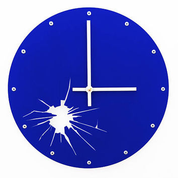 Shattered Metal, Medium, Modern Wall Clock, Colorful, Kitchen, Personalized, Hanging Art, Quartz, Round, Unusual, Broken Glass, Royal Blue