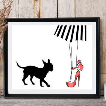 Printable art, Dog print, Woman legs, Red shoes, Striped skirt, Chihuahua print, Greeting dog card, High heels, Large poster, Dog wall art