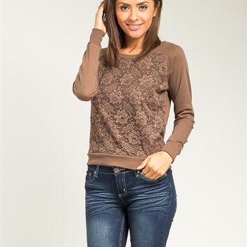 Lace and Mocha Brown Sweater