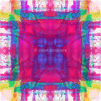 Carnival Daze Art Print. Square Art, Pink Home Decor, Pink Art Print, Abstract Art, Modern Art, Tie-Dye Print, Bright Art, Colorful Art