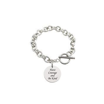 Solid Stainless Steel Inspirational Toggle Bracelet - Have Courage
