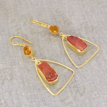 Carnelian Earrings - Rough Stone Earrings - Handmade Earrings - Citrine Earrings - Dangle Earring - Fashion Earrings - Valentines Day Sale