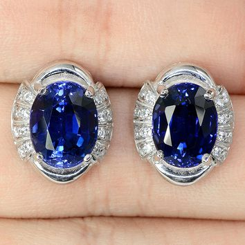 White Gold Natural 4CT Oval Cut Royal Blue Sapphire Halo Stud Earrings