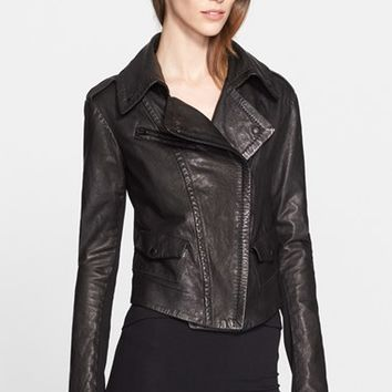 Women's Donna Karan New York Leather Moto Jacket