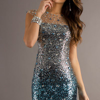 Short Beaded Dress with Open Back by Temptation 2042