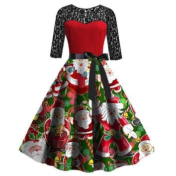 Christmas Retro Lace Splice Santa Print Dress