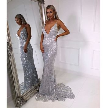 V Neck Sequined Evening Party Dress Padded Backless Bodycon Mermaid Maxi Dress Floor Length Sleeveless Dresses Navy Blue Silver