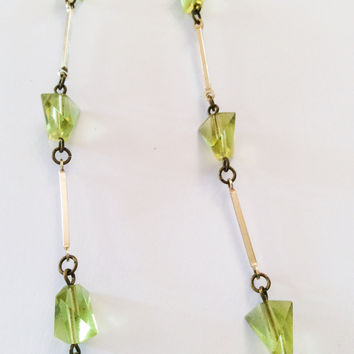 VALENTINE Sale, Green Glass Necklace Art Deco Inspired Flapper Beads Vintage Jewelry, Gift for Her