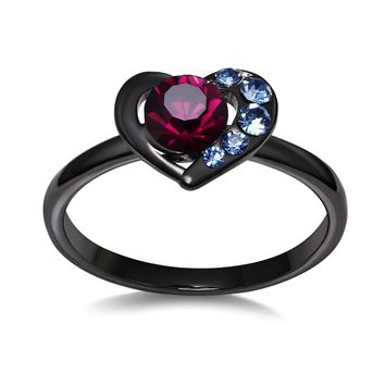 DreamCarnival 1989 Solitaire Heart Rings for Women Bridal Wedding Jewelry Blue Burgundy Crystals Ziron Anel Valentine's Day Gift
