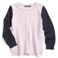 Girl's Vince Colorblock Chevron Knit Sweater,