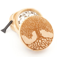 "Wood Grinder - Tree of Life II  - 2"" Custom Herb Grinder - Spirit Series"