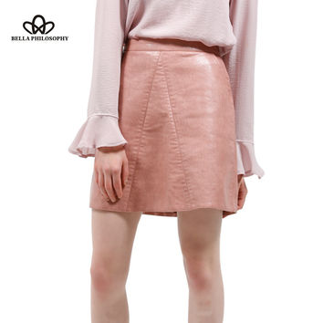 2016 autumn winter new quality brand design PU faux leather women skirt pink yellow black back zipper