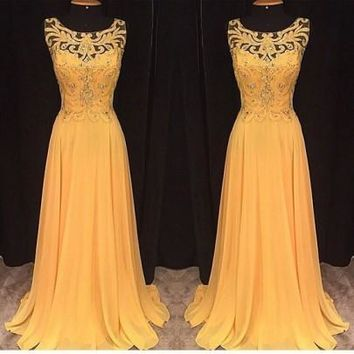 Yellow Patchwork Lace Pleated Cut Out Pearl Embroidery Wedding Bridemaid Prom Elegant Maxi Dress