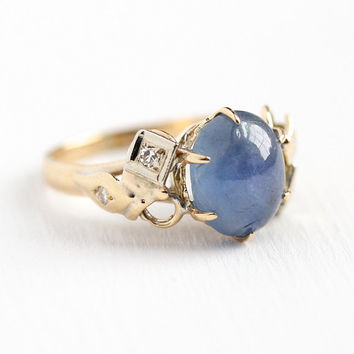 Star Sapphire Ring - Vintage 18k Rosy Yellow & White Gold Diamond Fine Jewelry - Size 4 1/4 Oval Blue Cabochon 3+ Carat September Birthstone