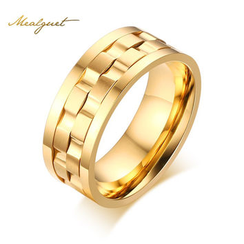 Meaeguet Men Spinner Ring Rotatable Wedding Band Round Rings Classic Gold-Color 9mm Gent's Party Jewelry