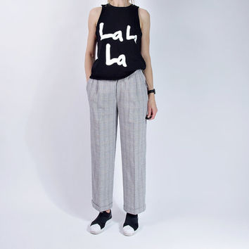 80s Lindex Wide Legs Glencheck Pants / High Waisted / Boyfriend Tomboy Al Capone Style / NEW with Label / Size 38 - M
