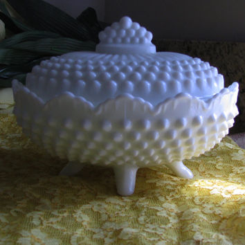Fenton Milk Glass Hobnail Footed Covered Oval Vintage Candy Dish 3786MI, 2pc, Perfect Bridal Shower Gift