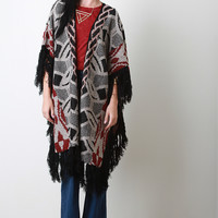 Fringe Accent Knit Pattern Longline Cardigan