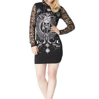 Gothic Dark Side Skeleton Angel Skull Lace Sleeve Mini Hoodie Dress
