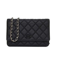 Chanel Black Quilted Lambskin Wallet On Chain WOC SHW