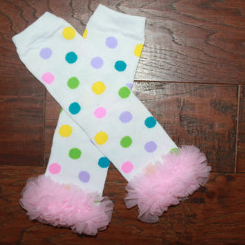 On sale-READY TO SHIP-Baby Girl Pastel Polka Dot Leg Warmers, Easter Leg Warmers, Leg Warmer
