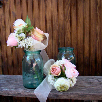 Silk Bridesmaids Bouquet, Wedding Flowers, Pink Bridal Bouquet, Country, Rose, Ranunculus, Garden Bouquet