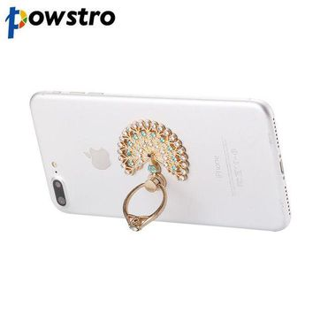ICIKJY1 Powstro Universal Luxury Peacock Diamond Finger Ring Phone Holder Mount For iPhone 8 7plus 6s Samsung Mobile Phones Tablet Dock