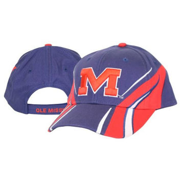 NCAA Officially Licensed University of Mississippi Ole Miss Lightning Style Adjustable Baseball Hat