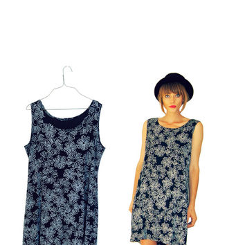 90s Black Daisy Slinky Mini Dress  / short sun dress / by Idlized