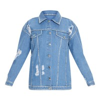 Light Wash Diamante Studded Jacket
