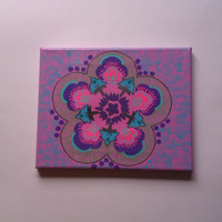 Kaleidoscope acrylic canvas painting for girls room