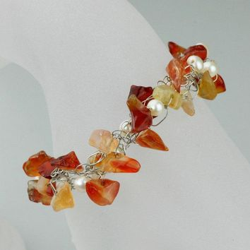 Beaded carnelian pearl chunky crocheted wiring bracelet  Free US Shipping handmade Anni Designs