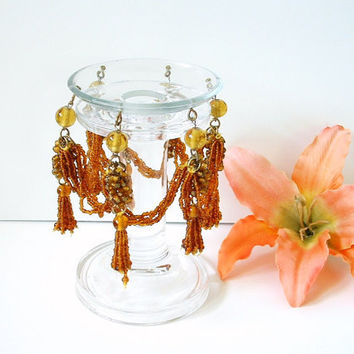 Vintage Glass Pillar Candle Holder Beaded Chandelier Skirt Romantic Ambiance Witchery