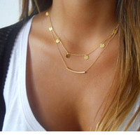Fashion Multi Layer Necklace Bulk Jewelry real gold plated 2-strand Coin Charm Bar Tube Pendant Charms Necklace for Women