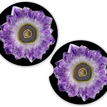 Purple Geode Photo Car Cup Coaster, Photo Cup Holder Coaster, Custom Auto Gift, Sandstone Coaster, gift for her Stone Flower