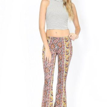 Mocha and Brown Paisley Print Flare Pants