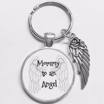 Guardian Angel Mommy To An Angel In Memory Sympathy Gift Child Loss Keychain