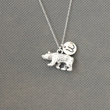 Bear Charm Necklace.Personalized Initial Necklace. gift for friend sister mom he.r No67