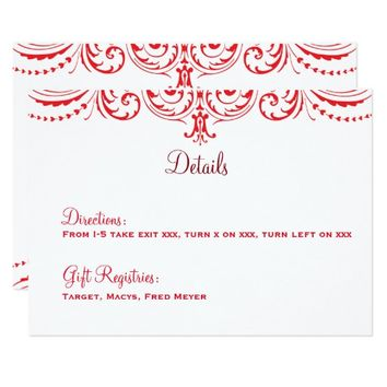 Red & White Wedding Details Card