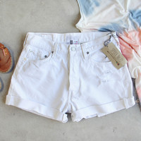 Vintage Cuffed Jean Shorts- White