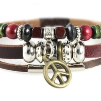 Peace Sign Rugged Leather Zen Bracelet - Adjustable, Fits 5 to 8 Inches, for Men, Women, Teens, Boys and Girls (Foil Gift Box)