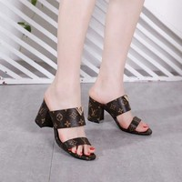 LV Slipper Women Sandals ''Louis Vuitton'' Slippers LV Fashionable casual Shoes Embroidery Print Flats